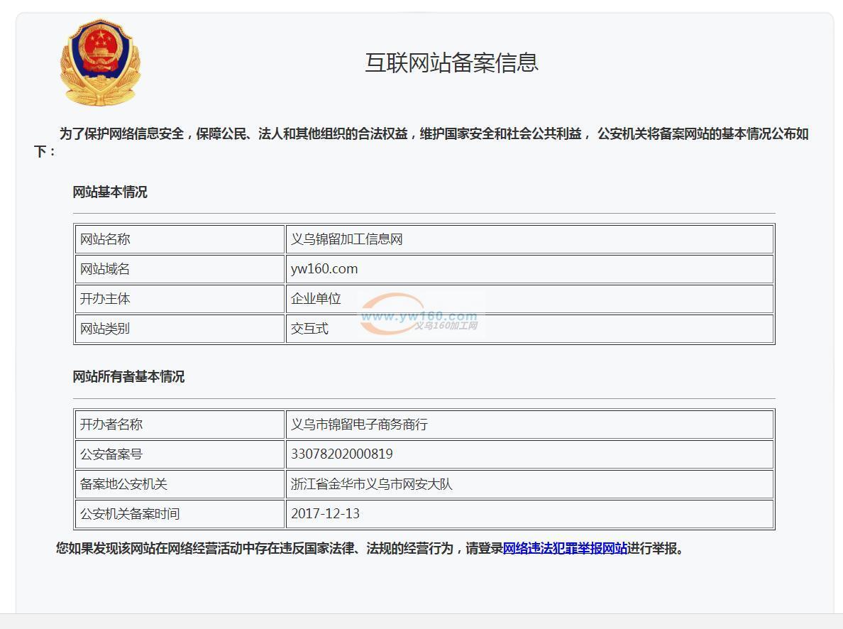 义乌160加工网 浙公安备案号33078202000819